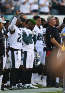 Aug 9, 2018; Philadelphia, PA, USA; Philadelphia Eagles defensive back Malcolm Jenkins (27) raises his fist during the national anthem before the start of the preseason game against the Pittsburgh Steelers at Lincoln Financial Field. Credit: James Lang-USA TODAY Sports