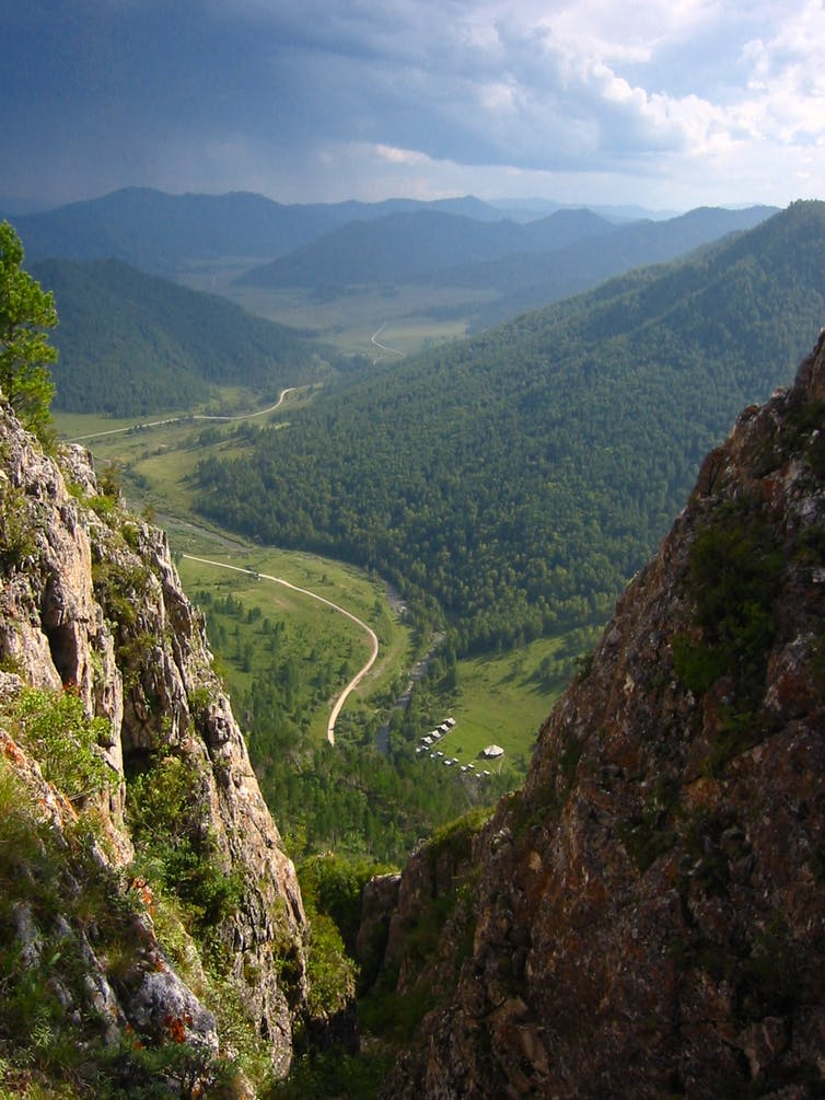 Where ancient people roamed: the valley above the Denisova Cave archaeological site, Russia. Photo by Bence Viola