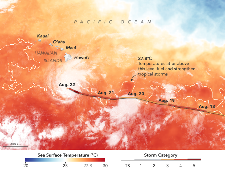 This map highlights sea surface temperatures of 27.8 degrees Celsius (82 degrees Fahrenheit), a threshold that scientists generally believe to be warm enough to fuel a hurricane. Map and caption via Coral Reef Watch/NOAA