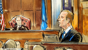 Rick Gates testifies Aug. 7 during Paul Manafort's trial in Virginia. Courtroom illustration courtesy of Bill Hennessy.