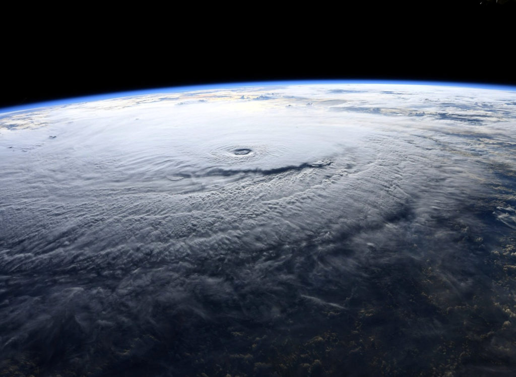 A photo taken from the International Space Station and moved on social media by astronaut Ricky Arnold shows Hurricane Lane in the early morning hours near Hawaii, U.S., August 22, 2018. Courtesy @astro_ricky/NASA/Handout via REUTERS