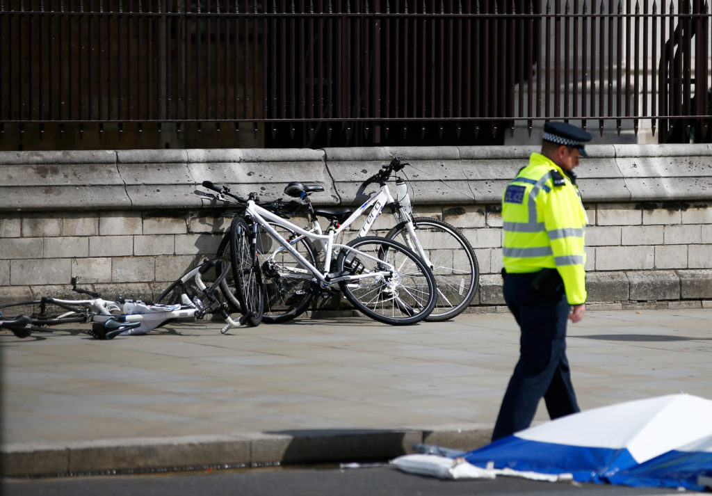 Bicycles lie on the ground at the scene after a car crashed outside the Houses of Parliament in Westminster, London, Britain, August 14, 2018. REUTERS/Henry Nicholls