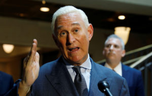 FILE PHOTO: U.S. political consultant Roger Stone, a longtime ally of President Donald Trump, speaks to reporters after appearing before a closed House Intelligence Committee hearing investigating Russian interference in the 2016 U.S. presidential election at the U.S. Capitol in Washington, U.S., September 26, 2017. REUTERS/Kevin LamarqueREUTERS/ /File Photo - RC1DD778C100