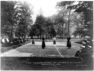 A tennis court at St. Xavier's Academy it Beatty, Pennsylvania, 1900. Photo courtesy of the Library of Congress