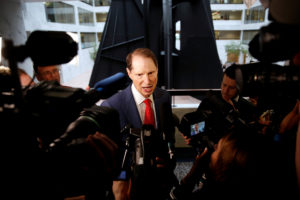 "Senator Ron Wyden (D-OR) arrives for a Senate Intelligence Committee hearing evaluating the Intelligence Community Assessment on ""Russian Activities and Intentions in Recent US Elections"" on Capitol Hill in Washington, U.S., May 16, 2018. Photo by Joshua Roberts/Reuters"