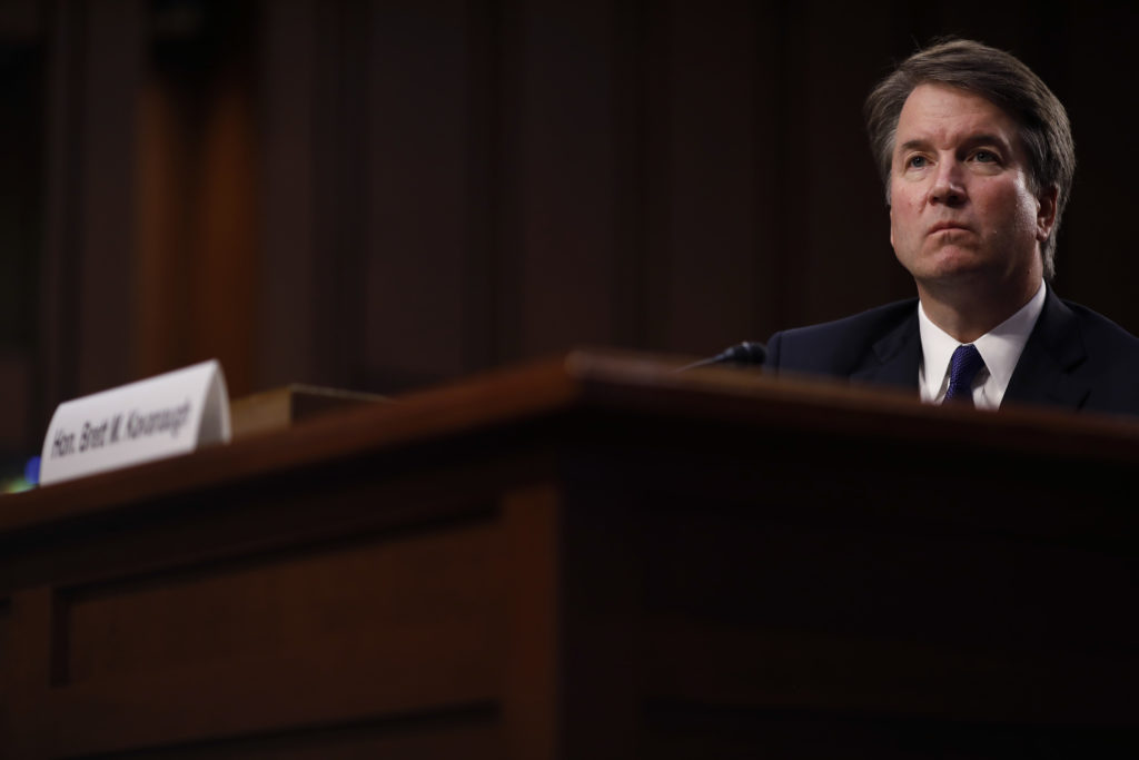 Brett Kavanaugh, U.S. Supreme Court associate justice nominee for U.S. President Donald Trump, listens during a Senate Judiciary Committee confirmation hearing in Washington, D.C., U.S., on Tuesday, Sept. 4, 2018. If confirmed, Kavanaugh would fortify the high court's conservative majority, and spotlight the rightward march of the federal judiciary under Trump and the GOP-controlled Senate. Photographer: Aaron P. Bernstein/Bloomberg via Getty Images