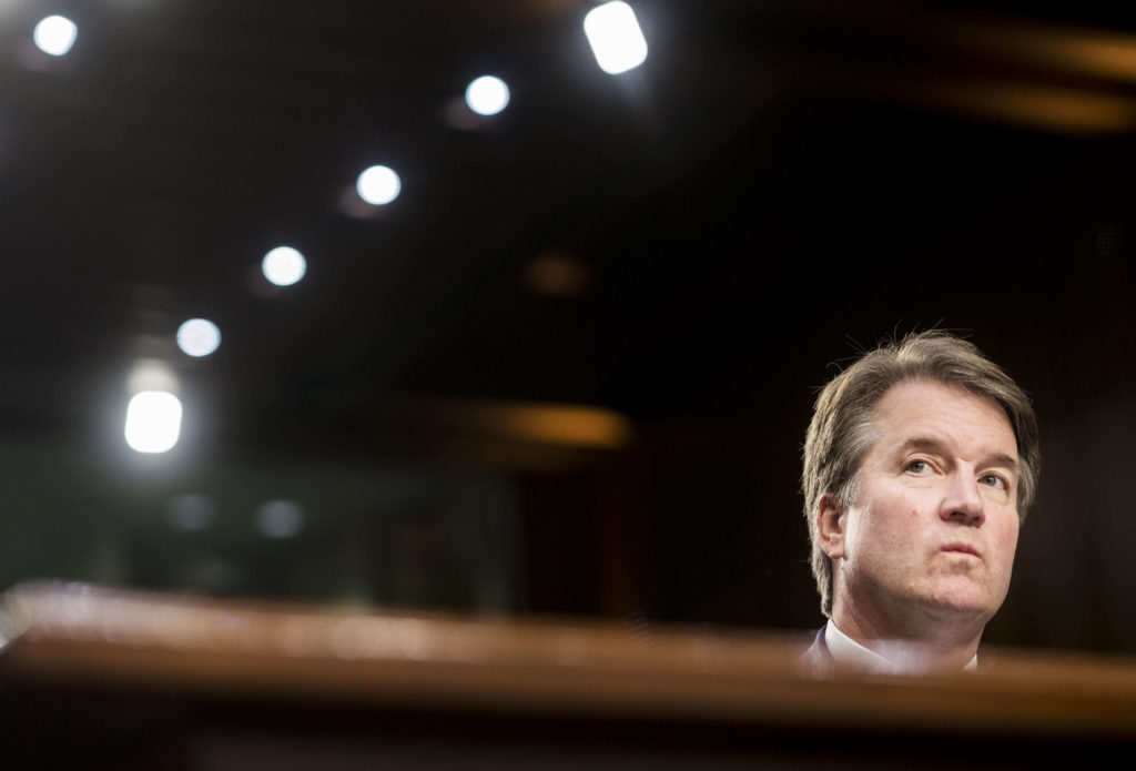 Supreme Court nominee Brett Kavanaugh during his confirmation hearing in the Senate Judiciary Committee on Capitol Hill in Washington, D.C. Photo by Melina Mara/The Washington Post via Getty Images