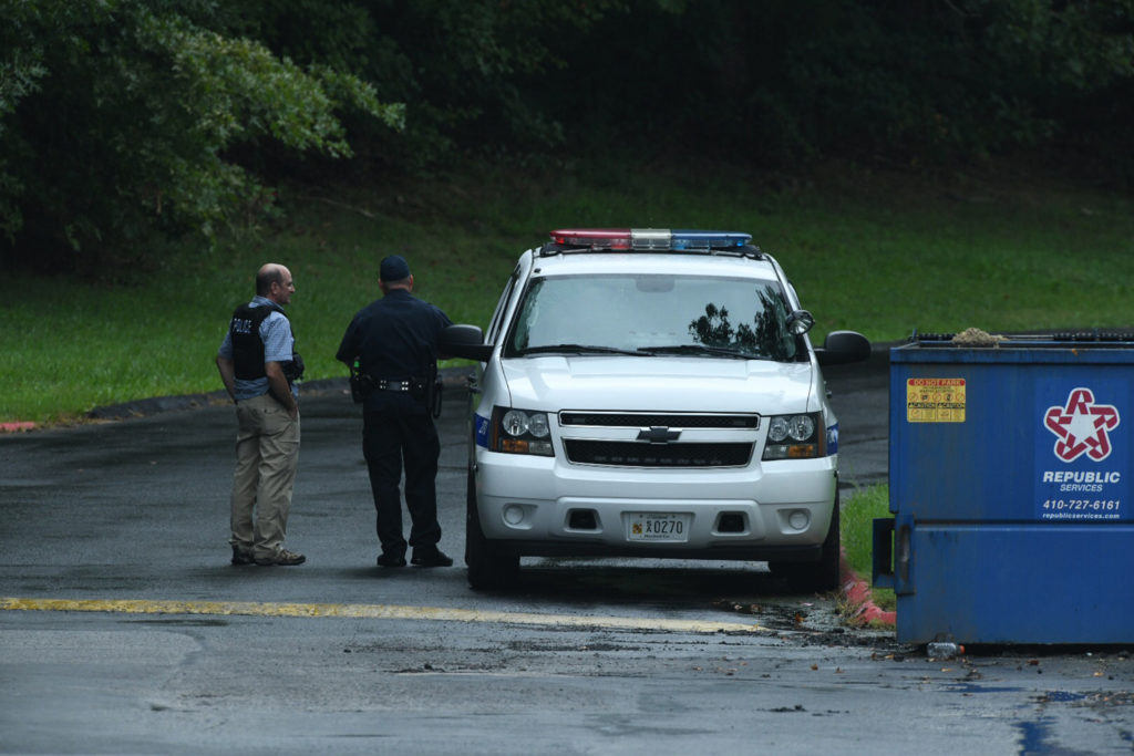 Authorities respond to a shooting with multiple victims in Harford County on Thursday, Sept. 20, 2018. (Jerry Jackson/Baltimore Sun/TNS via Getty Images)