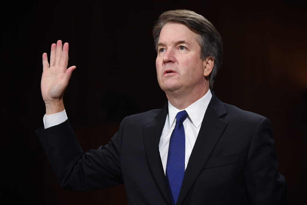 d66bc4523875 Brett Kavanaugh, Supreme Court associate justice nominee for U.S. President Donald  Trump, is sworn