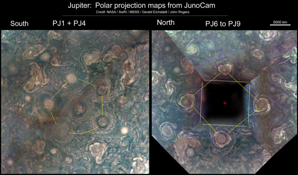 In composites stitched together from multiple images, cyclones swirl in geometric patterns around Jupiter's poles. These are from one paper published using JunoCam results. Photo by NASA / SwRI / MSSS / Gerald Eichstädt / John Rogers