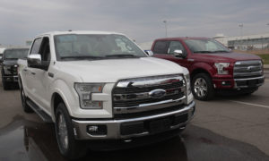 The all-new Ford 2015 F-150 pickup trucks are seen outside the Ford Rouge Center in Dearborn, Michigan, November 11, 2014. REUTERS/Rebecca Cook