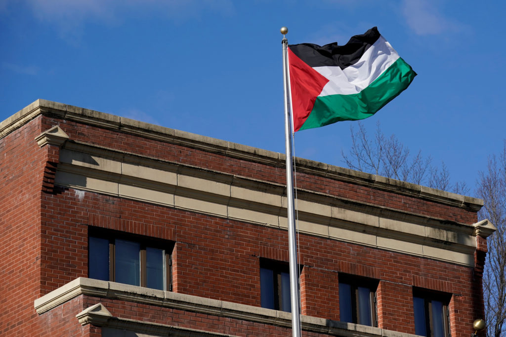 Palestinian flag waves at Palestine Liberation Organization office in Washington, D.C. Photo by Yuri Gripas/Reuters