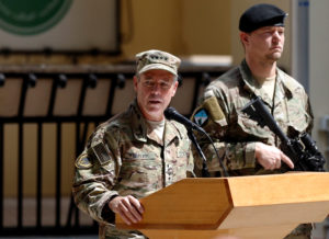 U.S. Army General Scott Miller speaks during a change of command ceremony in Resolute Support headquarters in Kabul, Afghanistan on Sept. 2. Miller said a U.S. service member has been killed during an attack in Eastern Afghanistan. Photo by Mohammad Ismail/Reuters