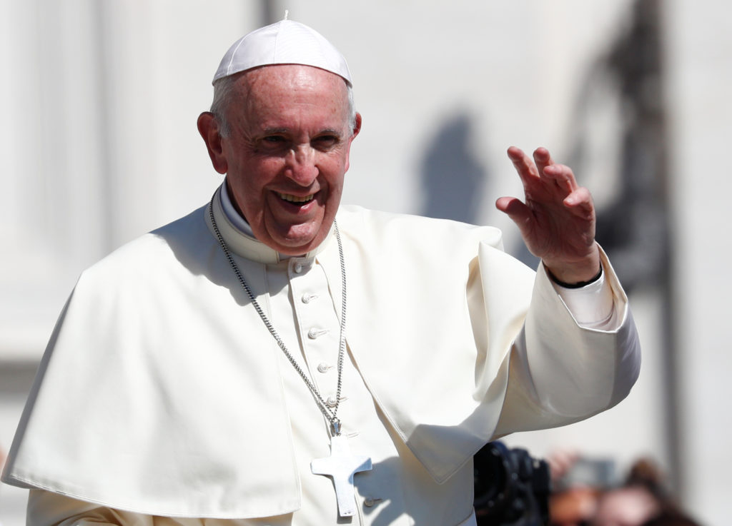 Pope Francis waves as he leaves after the Wednesday general audience in Saint Peter's square at the Vatican on Sept. 5, 2018. Photo by Max Rossi/Reuters