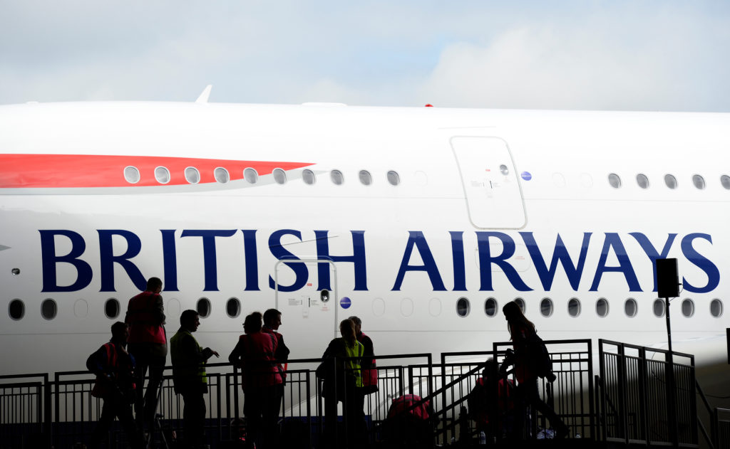 British Airways' new Airbus A380 arrives at a hanger after landing at Heathrow airport in London. Photo by Paul Hackett/Reuters