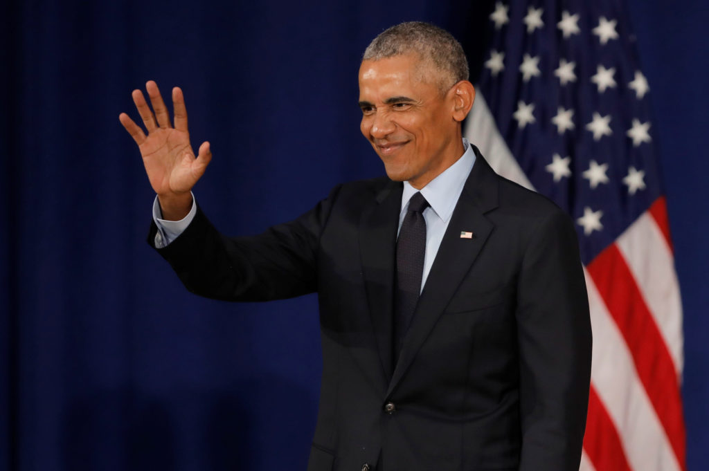 Former U.S. President Barack Obama speaks at the University of Illinois Urbana-Champaign in Urbana, Illinois, U.S., Septem...