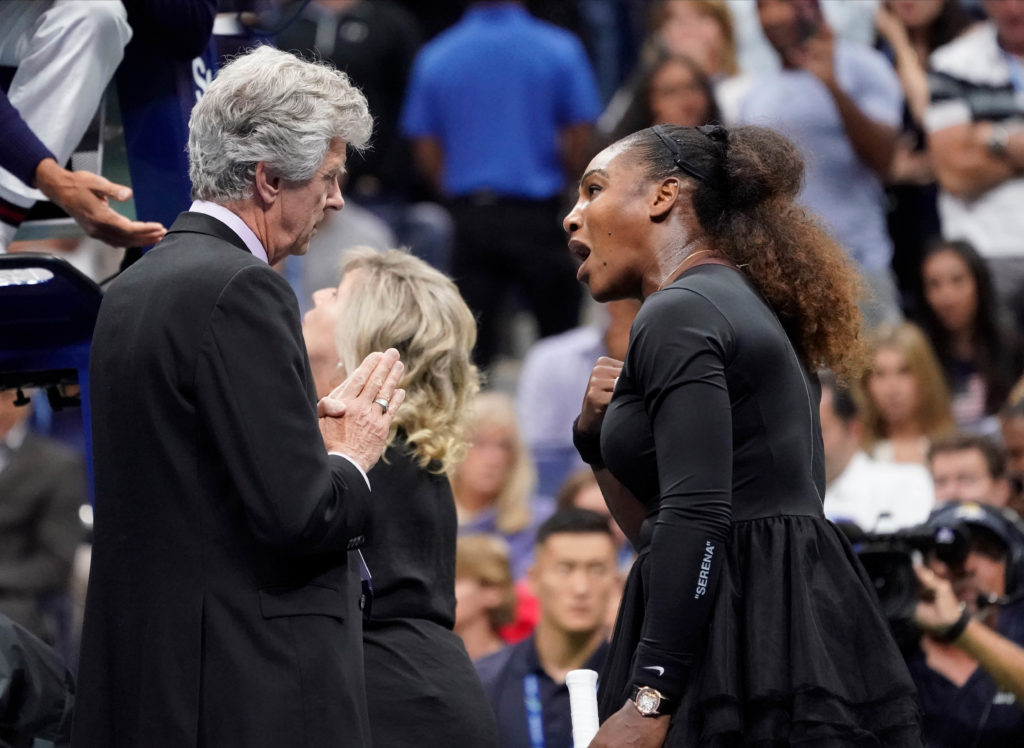Serena Williams of the USA argues with tournament director Brian Earley while playing Naomi Osaka of Japan in the women's final on day thirteen of the 2018 U.S. Open tennis tournament at USTA Billie Jean King National Tennis Center. Photo by Robert Deutsch/USA Today Sports