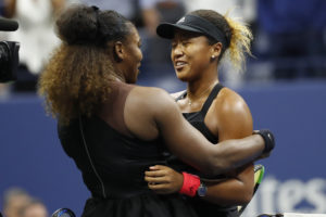 New York, NY, USA; Naomi Osaka of Japan (R) hugs Serena Williams of the United States (L) after their match in the women's final on day thirteen of the 2018 U.S. Open tennis tournament at USTA Billie Jean King National Tennis Center. Photo by Geoff Burke/USA Today Sports