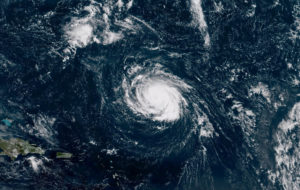 Hurricane Florence seen over the Atlantic Ocean, about 750 miles southeast of Bermuda in this handout photo provided by the National Oceanic and Atmospheric Administration on Sept. 9, 2018. Image by NOAA NWS National Hurricane Center via Reuters