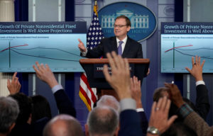 Trump economic adviser Kevin Hassett speaks during a press briefing at the White House in Washington, U.S., September 10, 2018. REUTERS/Kevin Lamarque