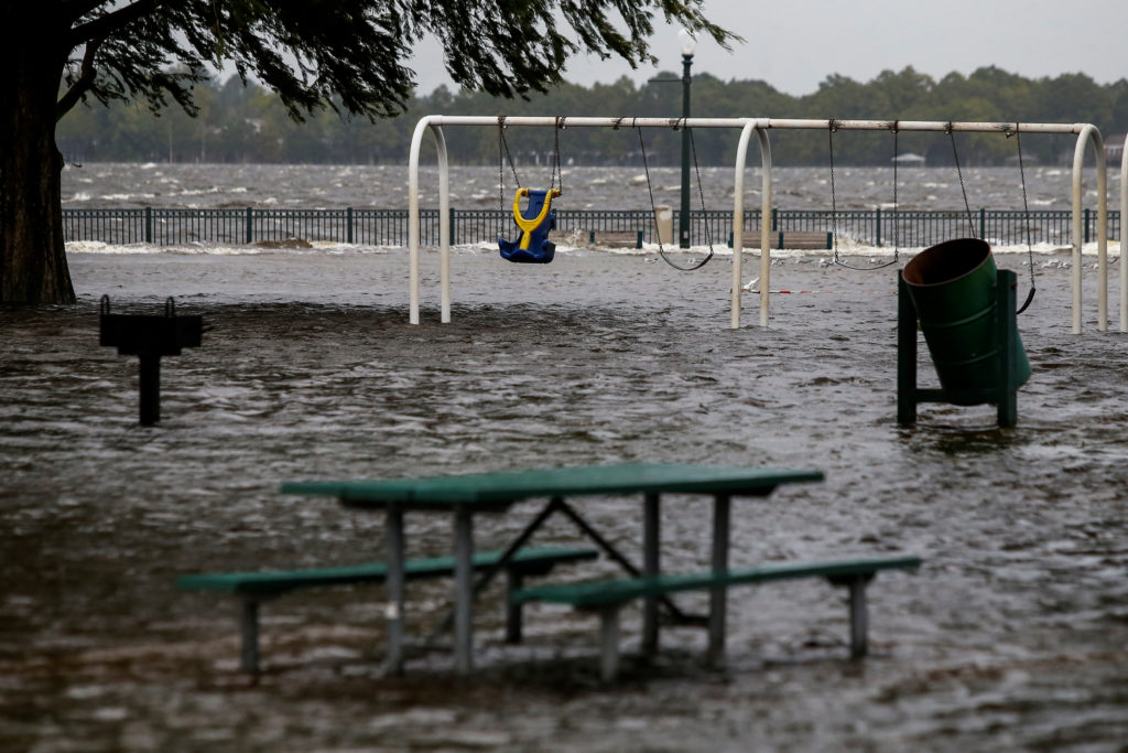 The Union Point Park Complex is seen flooded as the Hurricane Florence comes ashore in New Bern, North Carolina. Photo by Eduardo Munoz/Reuters