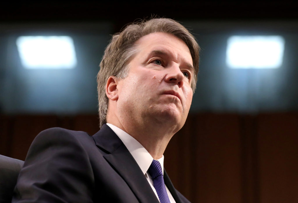 Supreme Court nominee judge Brett Kavanaugh looks on during his Senate Judiciary Committee confirmation hearing on Capitol...