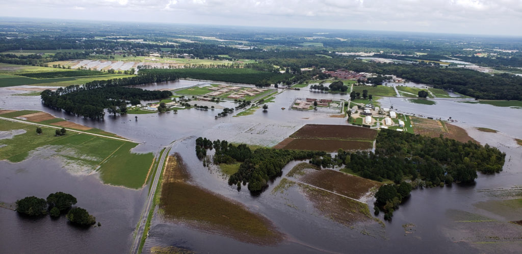 Aerial view of farms flooded after the passing of Hurricane Florence in eastern North Carolina, U.S. REUTERS/Rodrigo Gutierrez