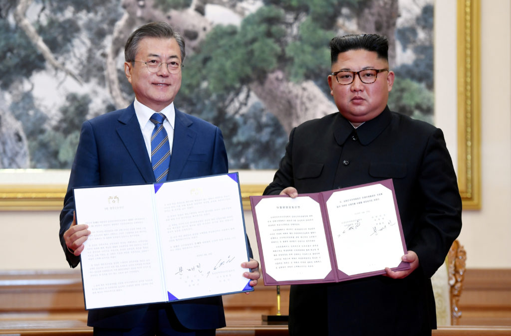 South Korean President Moon Jae-in and North Korean leader Kim Jong Un hold a joint statement in Pyongyang, North Korea, o...
