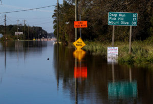 A road is blocked by flood waters in the aftermath of Hurricane Florence, now downgraded to a tropical depression, in Kinston, North Carolina, U.S., September 19, 2018. REUTERS/Eduardo Munoz
