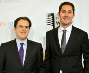 Instagram founders Mike Krieger (left) and Kevin Systrom attend the 16th annual Webby Awards in New York May, 21 2012. REUTERS/Stephen Chernin