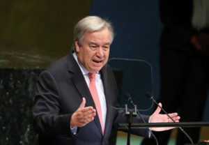 United Nations Secretary General Antonio Guterres delivers the opening address at the 73rd session of the United Nations General Assembly at U.N. headquarters in New York. Photo by Shannon Stapleton/Reuters