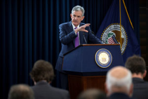 U.S. Federal Reserve Chairman Jerome Powell holds a news conference following a two-day Federal Open Market Committee policy meeting where the Fed raised interest rates for the third time this year. Photo by Al Drago/Reuters