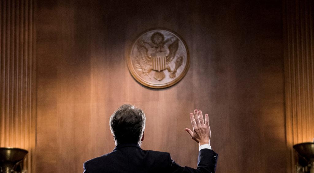 Judge Brett Kavanaugh is sworn in before testifying before the U.S. Senate Judiciary Committee on Capitol Hill in Washingt...