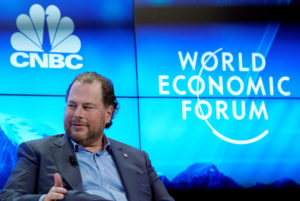 Marc R. Benioff, Chairman and Chief Executive Officer of Salesforce, Member of the Board of Trustees of World Economic Forum, gestures as he attends the World Economic Forum (WEF) annual meeting in Davos, Switzerland, January 23, 2018. REUTERS/Denis Balibouse - RC15FC273B40