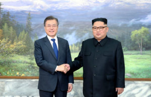 South Korean President Moon Jae-in met for a second time with North Korean leader Kim Jong Un in the border area of Panmunjom on May 26, 2018. Handout photo from the Presidential Blue House via Reuters