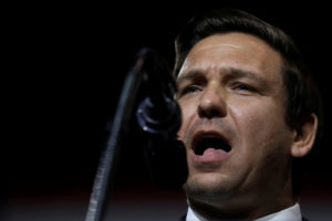 Republican Florida governor candidate Ron DeSantis speaks during a Make America Great Again Rally at the Florida State Fairgrounds in Tampa, Florida. Photo by Carlos Barria/Reuters
