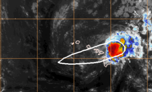 Tropical storm Olivia is expected to drop as much as 15 inches of rain on some parts of Hawaii. Photo: NOAA satellite image
