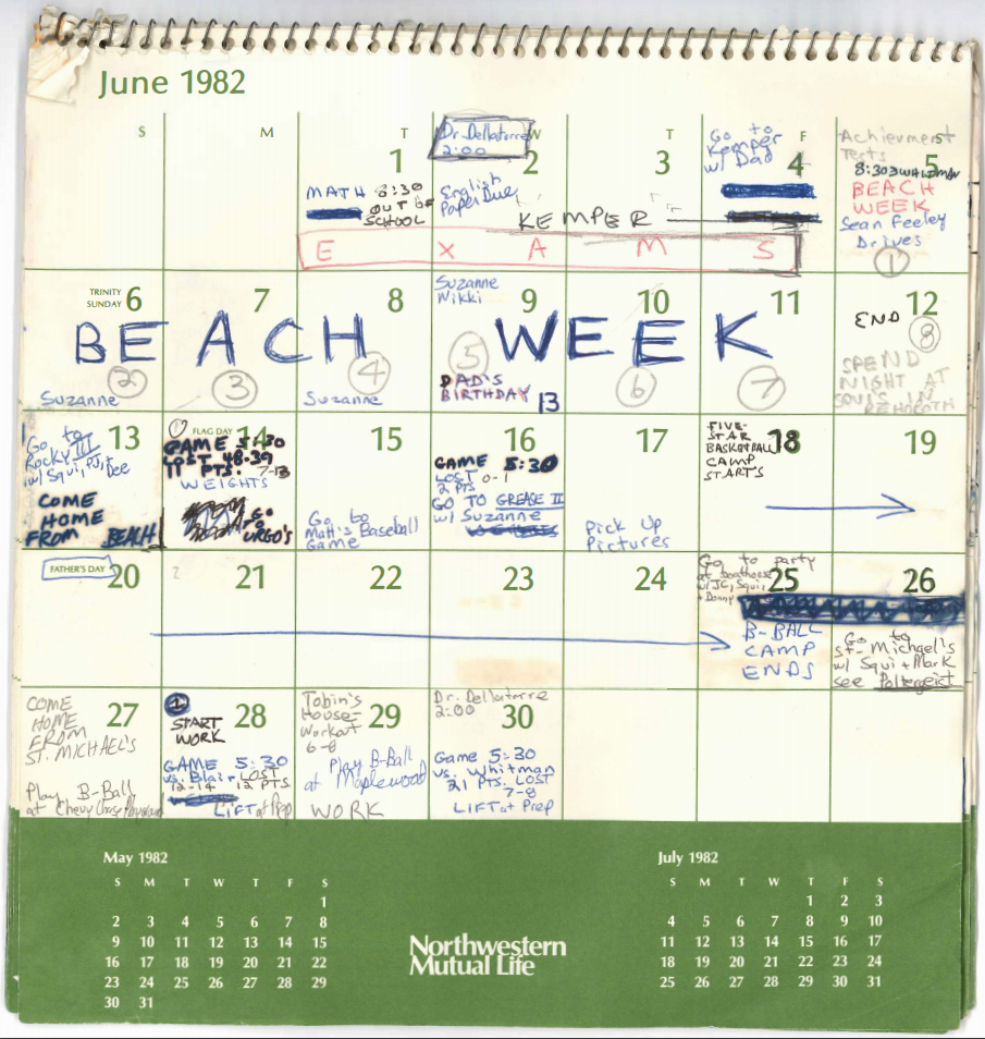 See 4 Months Of Brett Kavanaugh S Calendar From 1982 Pbs Newshour
