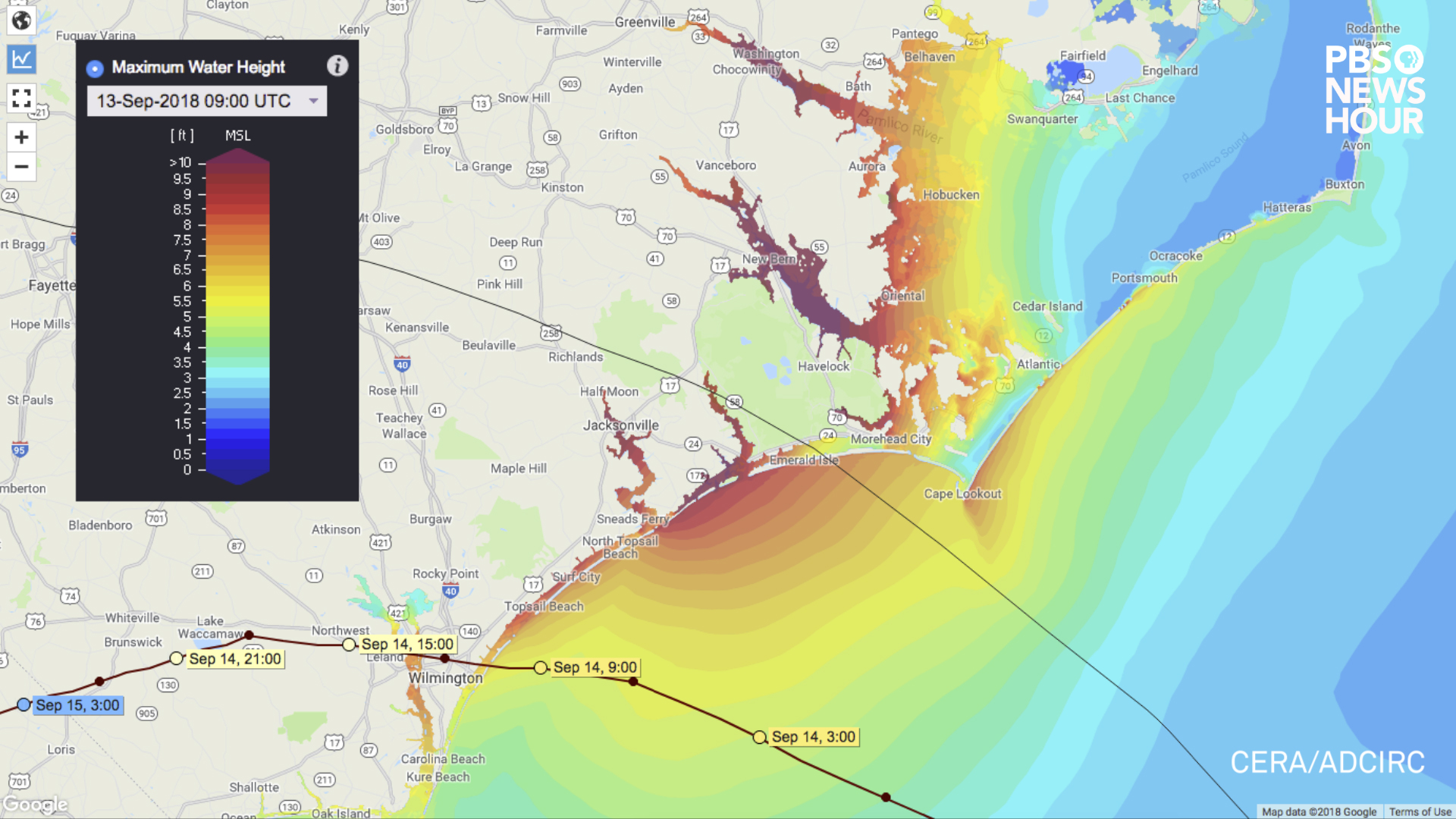 Maximum water heights caused by Hurricane Florence's storm surge as predicted by the ADCIRC computer model. Projections as of 5:00am EST on September 13, 2018.