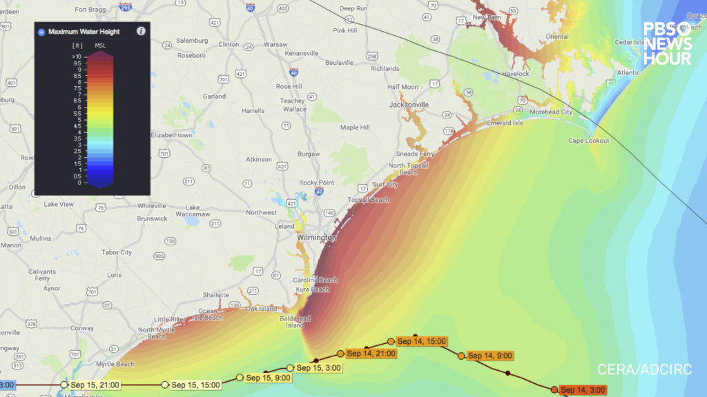 Maximum water heights caused by Hurricane Florence's storm surge as predicted by the ADCIRC computer model. Projections as of 11:00am EST on September 11, 2018.