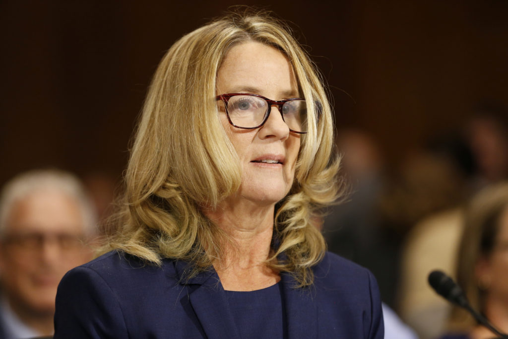 Christine Blasey Ford arrives to testify before the Senate Judiciary Committee on Capitol Hill in Washington, U.S., September 27, 2018. Photo by Michael Reynolds/Pool via REUTERS