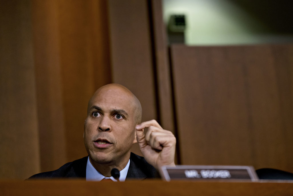 Senator Cory Booker, a Democrat from New Jersey, speaks during a confirmation committee hearing for Brett Kavanaugh, U.S. Supreme Court associate justice nominee for U.S. President Donald Trump, not pictured, in Washington, D.C., U.S., on Sept. 7, 2018. Kavanaugh yesterday steered clear of trouble in a marathon day before a Senate panel, refusing to say whether he would overturn the constitutional right to abortion or disqualify himself from any case directly involving Trump. Photographer: Andrew Harrer/Bloomberg via Getty Images