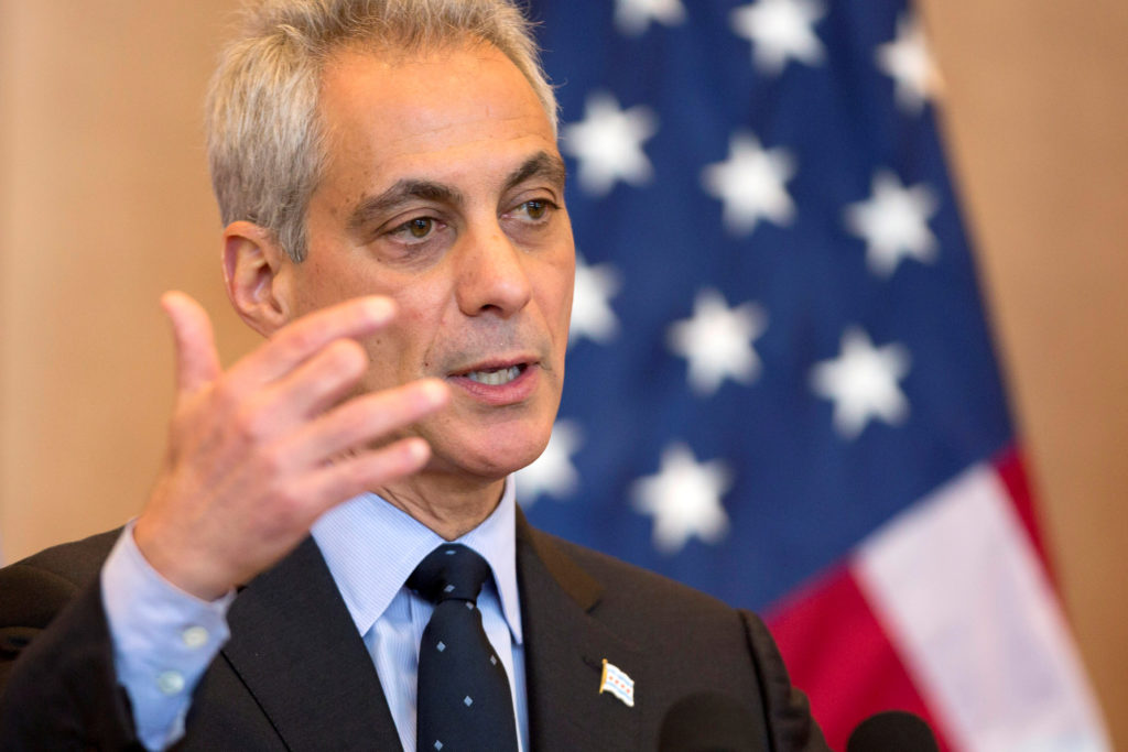 FILE PHOTO: Chicago Mayor Rahm Emanuel speaks during the U.S.-China Joint Commission on Commerce and Trade Investment Luncheon Program in Chicago, Illinois, U.S., December 17, 2014. REUTERS/Andrew NellesREUTERS/ /File Photo