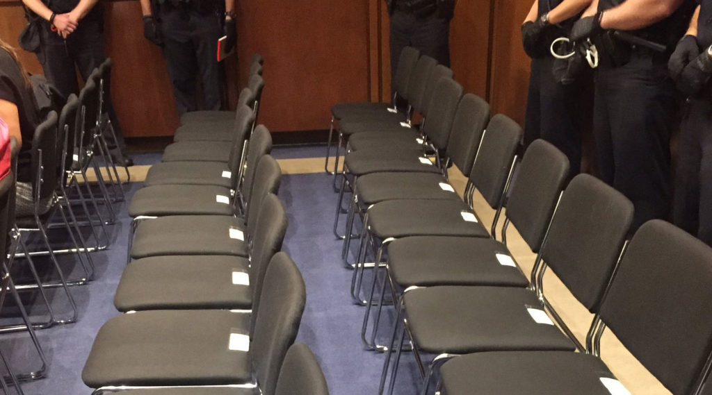 For 45 minutes on Wednesday, members of the public were cleared from the Senate Judiciary hearing for Brett Kavanaugh's ap...