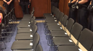 For 45 minutes on Wednesday, members of the public were cleared from the Senate Judiciary hearing for Brett Kavanaugh's appointment to the Supreme Court. The seats were cleared after repeated outbursts from protesters had disrupted the hearing multiple times. Seating for the public on Wednesday was reduced by half, to 22, on Wednesday after outbursts delayed the hearings on the day before. Photo by Lisa Desjardins