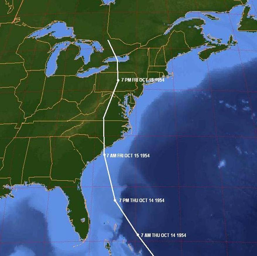 Path of Hurricane Hazel, October 14-15, 1954. Map by NOAA