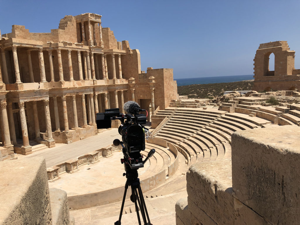 The team began filming in secret after it appeared their permits were useless. Pictured here is a Roman amphitheater in the Libyan city of Sabratha on the Mediterranean coast. Photo by Alessandro Pavone