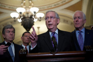 Senate Majority Leader Mitch McConnell (R-Ky.) speaks beside Senators Roy Blunt (R-Mo.), John Barrasso (R-Wy.), and John Cornyn (R-Texas) during a news conference following the Republican weekly policy lunch on Capitol Hill in Washington, D.C. Photo by Al Drago/Reuters