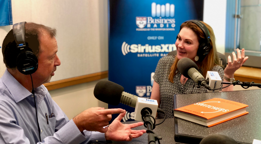 """Making Sen$e columnist Nick Corcodilos and Dr. Dawn Graham, irector of Career Management for the MBA program for executives at The Wharton School, speak on the radio show """"Career Talk"""" Photo courtesy: Wharton School."""