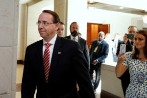 Deputy Attorney General Rod Rosenstein arrives for a classified briefing on Capitol Hill in Washington, D.C. Photo by Yuri Gripas/Reuters
